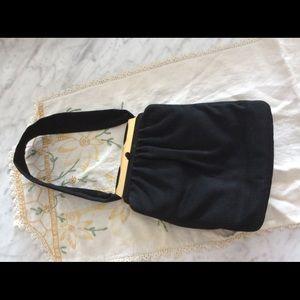 Vintage soft felt black evening bag